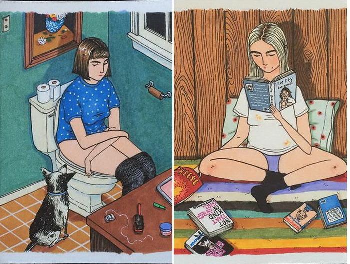 Очаровательные миниатюры о жизни девочек от Салли Никстон